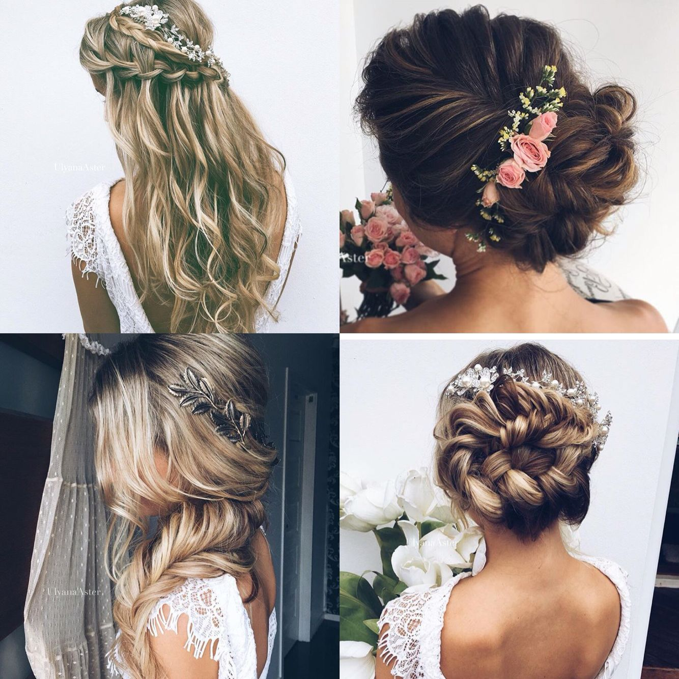 wedding hair bridal vine flowers