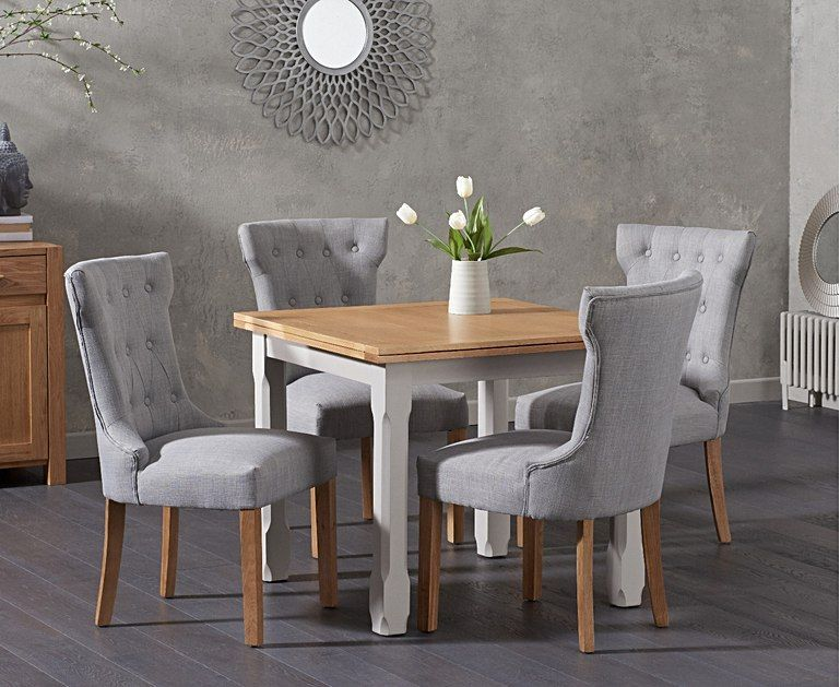 The Somerset 90cm Flip Top Oak And Grey Dining Table With Camille Grey Fabric Chairs Extends To Seat 8 With An Oak Edged Top With Veneer Inserts The Somerset Grey Fabric