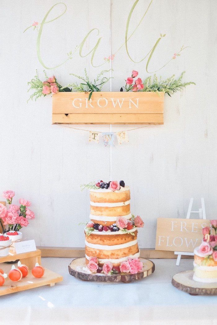 Cake Display From A Shabby Chic Farmers Market Birthday Party Via Karas Ideas