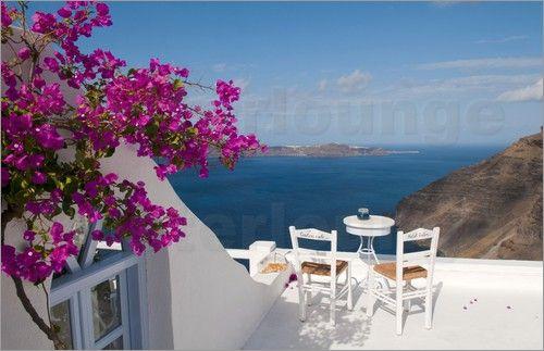 poster terrasse mit pinken blumen und traumhafter aussicht aussicht terrasse und pink. Black Bedroom Furniture Sets. Home Design Ideas