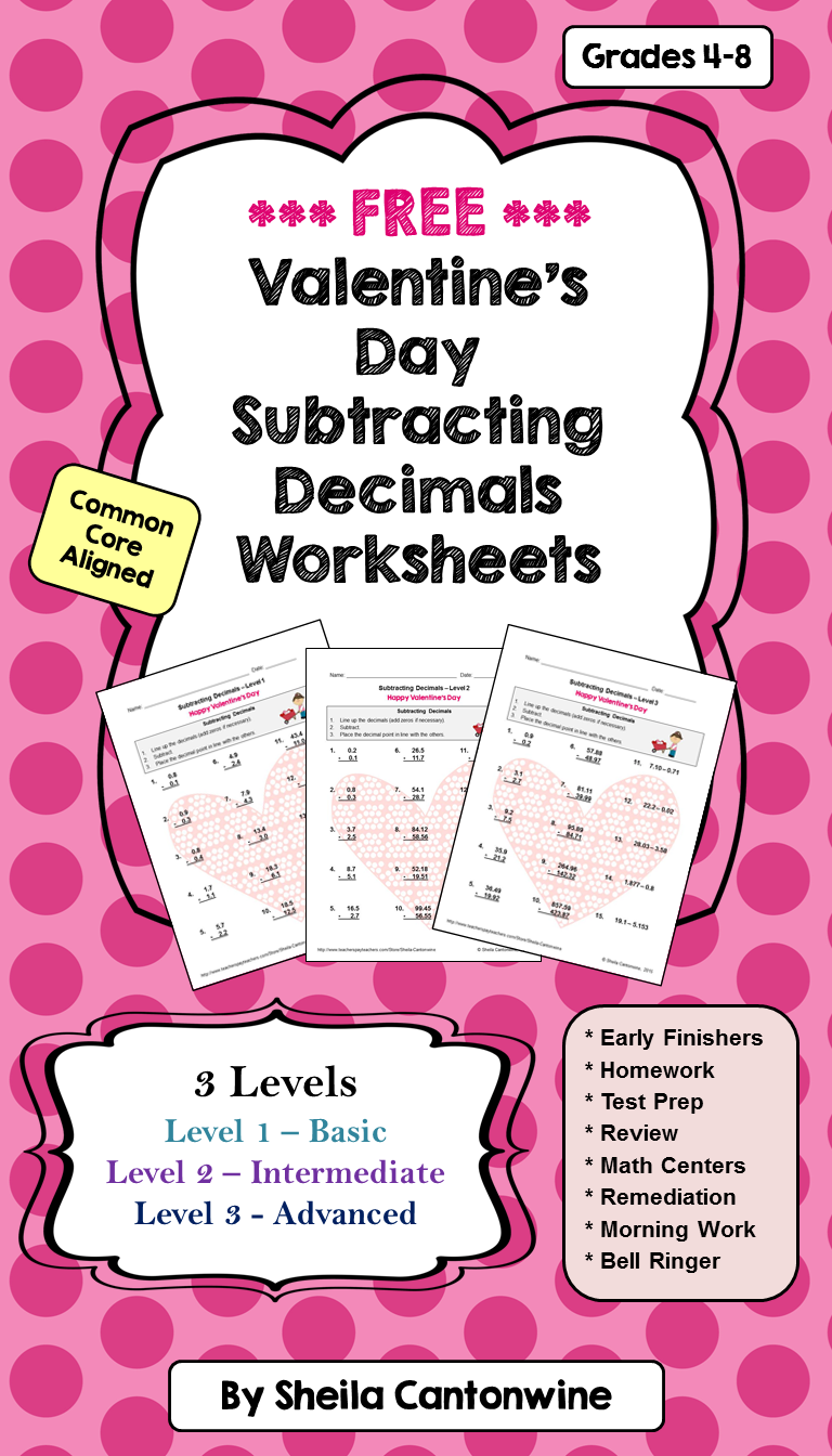 Valentine S Day Worksheets On Subtracting Decimals Subtracting Decimals Worksheet Decimals Worksheets Math [ 1344 x 768 Pixel ]
