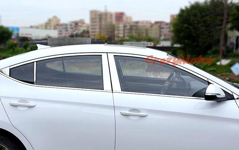 For Hyundai Elantra Avante 2016 2017 Stainless Steel Full Window Frame Trim 20pcs Hyundai Elantra Interior Accessories Elantra