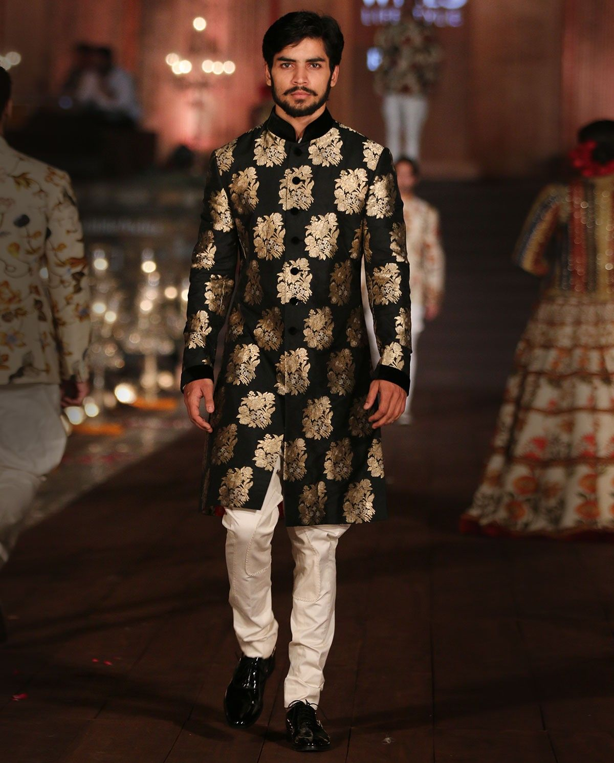 Image result for charcoal grey gold brocade sherwani