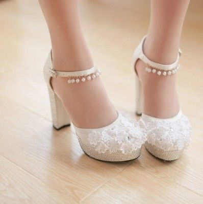 2017 Spring Lace Ankle Stry Mary Jane Rhinestones Platform Wedding Shoes With Square Heel