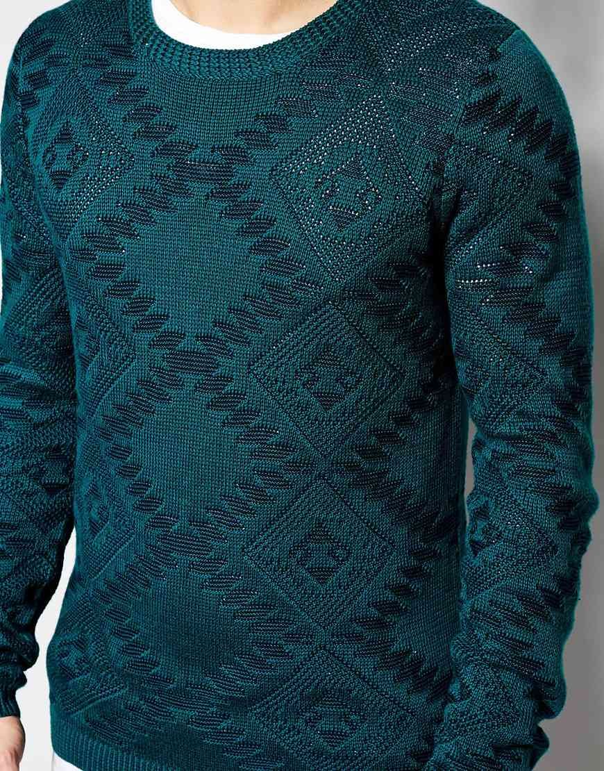 Pull Bear Pull Bear Maglia Con Motivo Azteco Su Asos Knitwear Men Denim Jacket Men Men Sweater