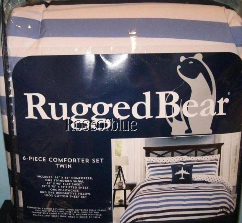 Rugged Bear 6 Pc Set Comforter Sham Airplane Pillow Twin Sheet Cotton Blue Stars Ruggedbear