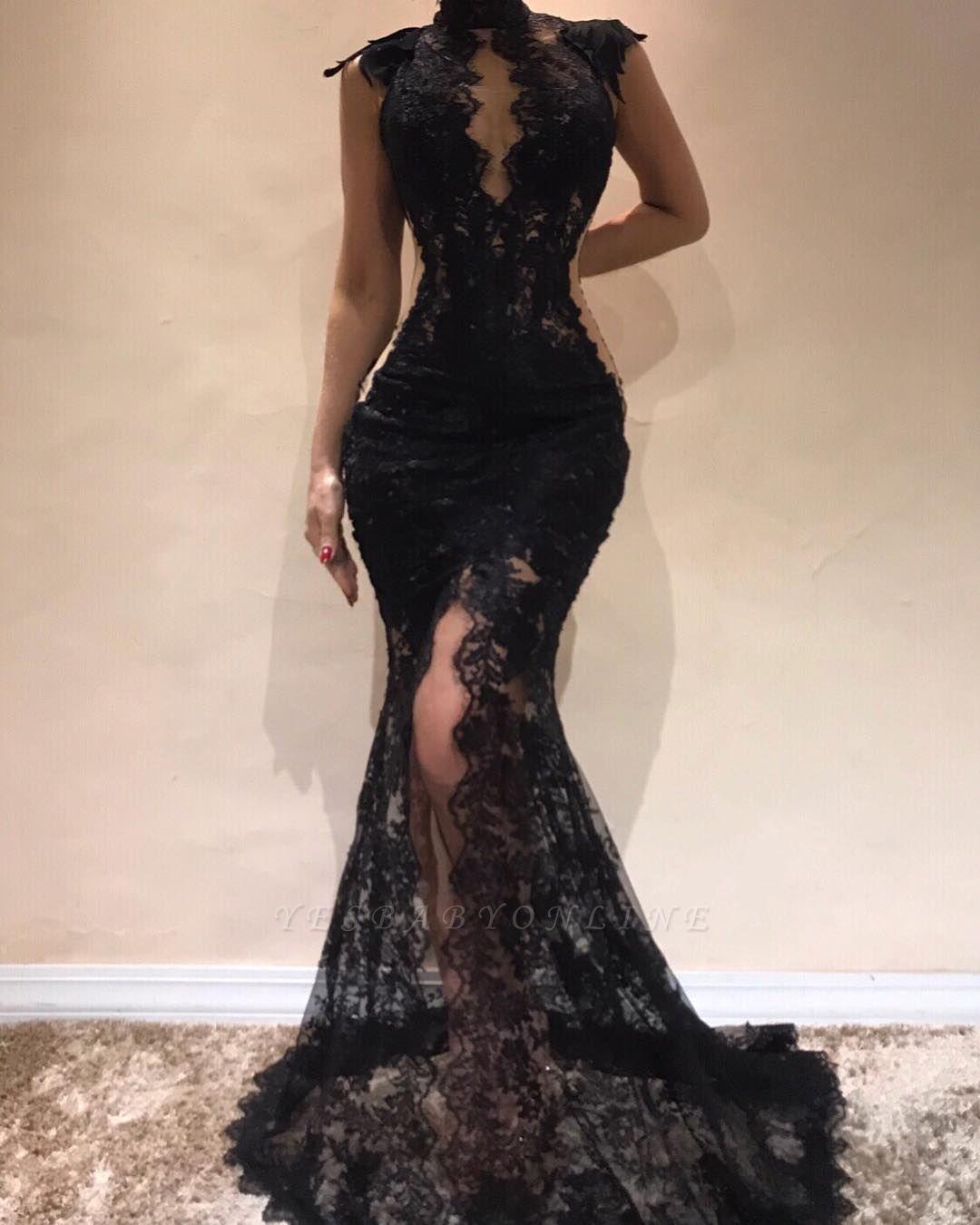 Sexy Black Lace Mermaid Evening Dresses | High Keyhole Neck Sheer Slit Prom DressesBC0513