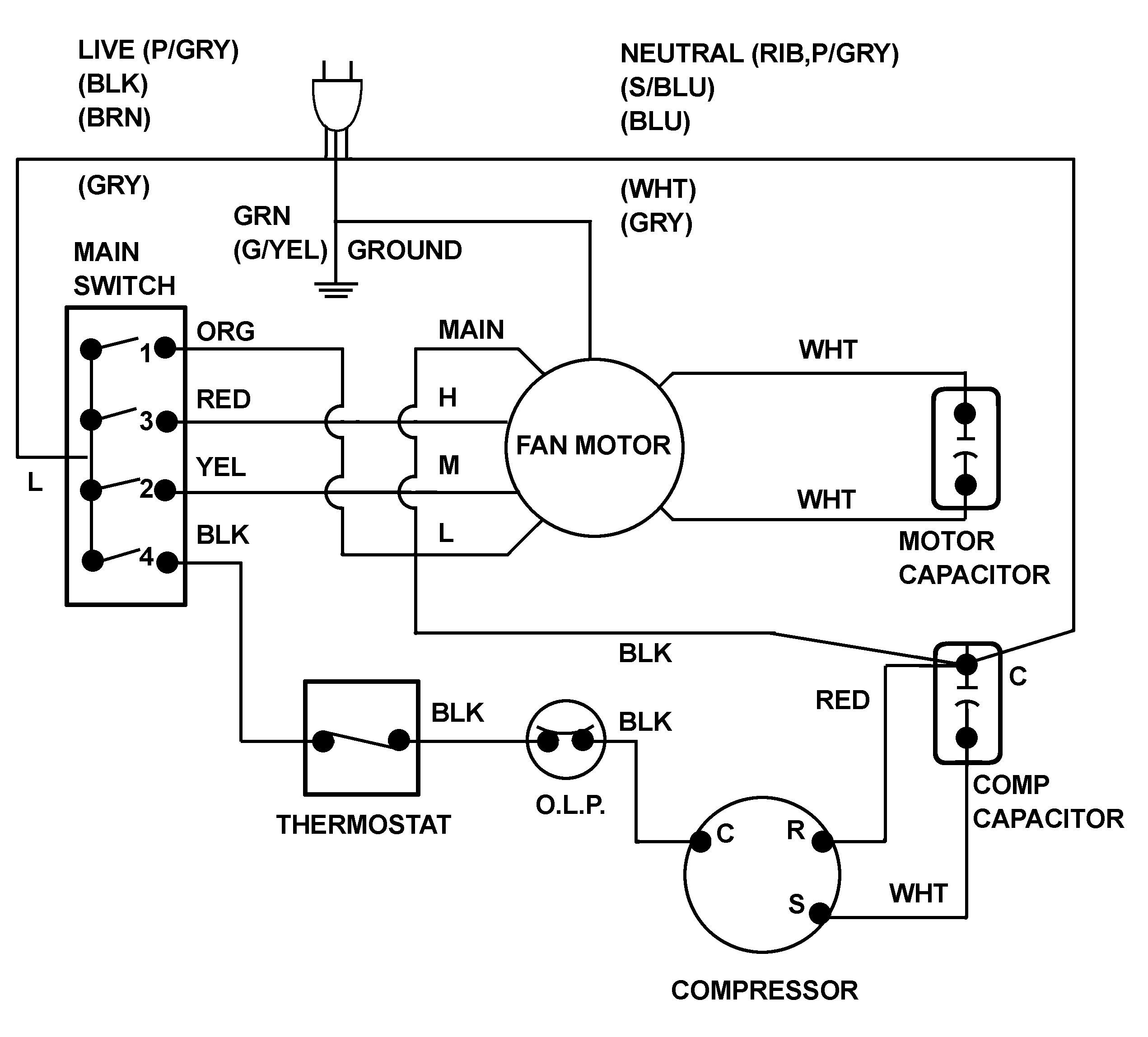 Ac Wiring Diagram Of Window Airconditioner Ac Wiring Thermostat Wiring Wire