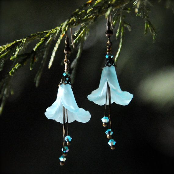 Snow Queen Diamontrigue Jewelry: Snow Queen Frost Blue Flower Earrings With Swarovski Crystals