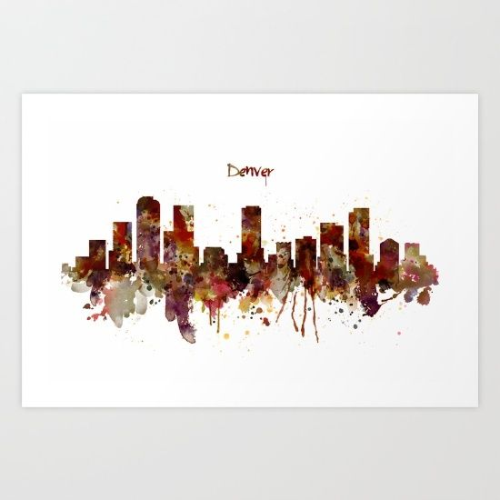 Denver Skyline Silhouette Art Print | Denver skyline, Skyline ...