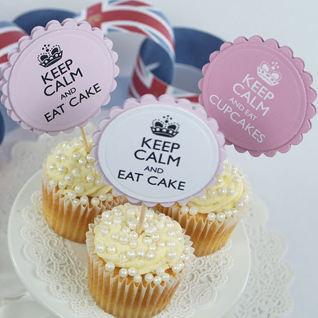 Baking Cupcake Decorations KEEP CALM AND EAT CUPCAKE FLAGS Cupcake Toppers