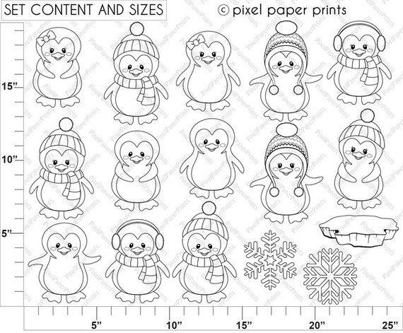 Cool Penguins - Digital Stamps - Digital download