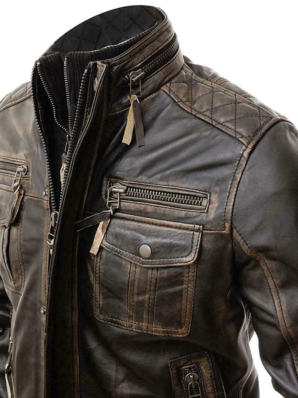 Mens Vintage Cafe Racer Distressed Motorcycle Retro Biker Genuine Leather Jacket Cafe Racer Leather Jacket Leather Jacket Men Leather Jacket Outfits
