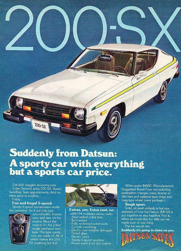 1977 Datsun 200 Sx Car Ad Tough Sport Datsun Sports Car Price Car Ads