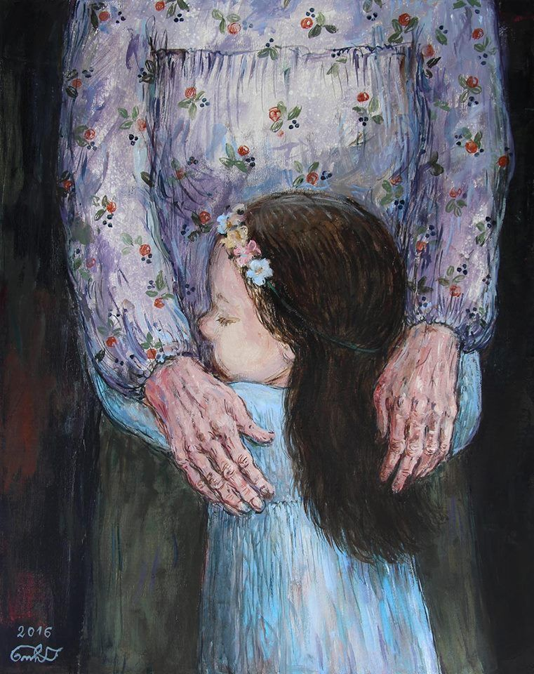 Nino Chakvetadze's Art   Mother painting, Hug illustration, Mother art