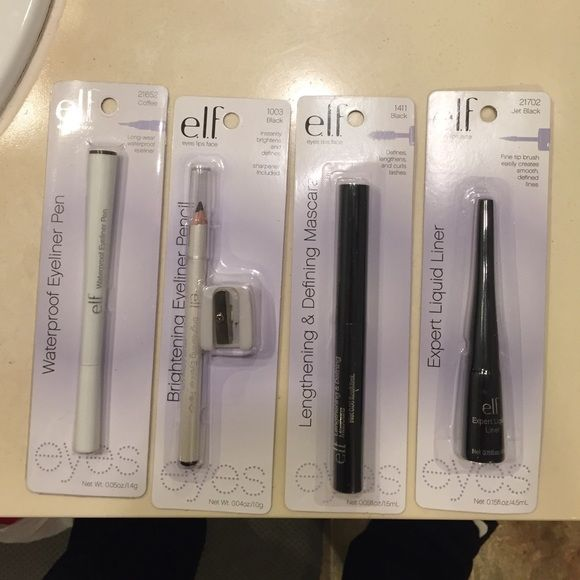 fab e.l.f eye bundle Brand new. Includes Waterproof Eyeliner Pen (coffee), Brightening Eyeliner Pencil (black), Expert Liquid Eyeliner (jet black) and Lengthing & Defining Mascara (black) ELF Makeup