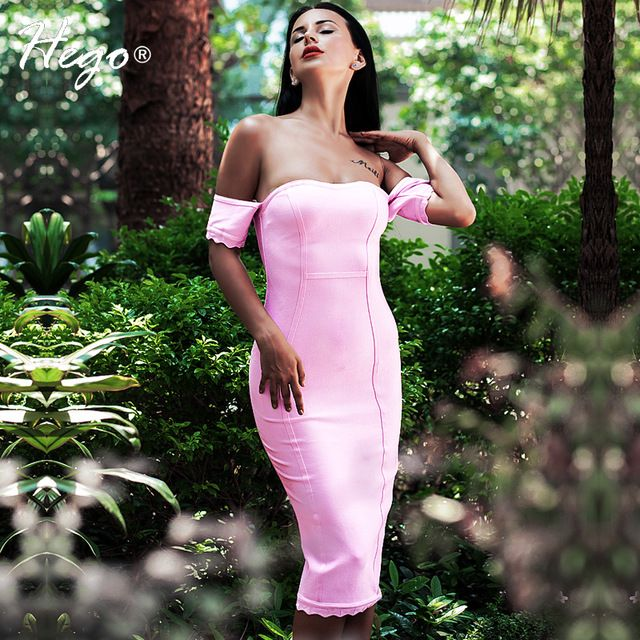 Hego 2016 New Pink Off The Shoulder Mid-Calf Strapless Bandage Dress Sexy…