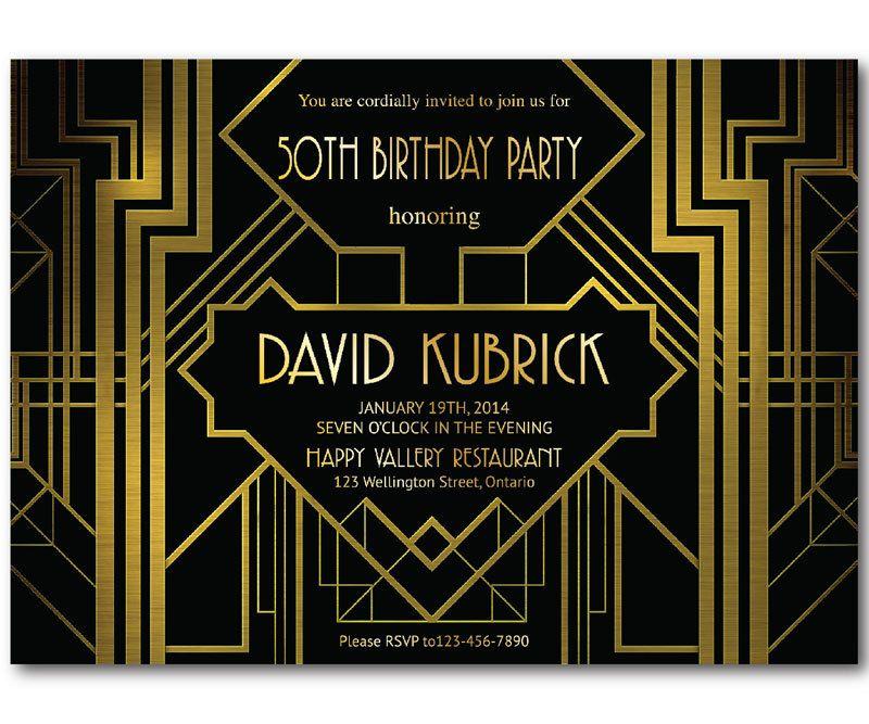 Great Gatsby Birthday Invitation. 30th 40th 50th 60th 70th 80th ...