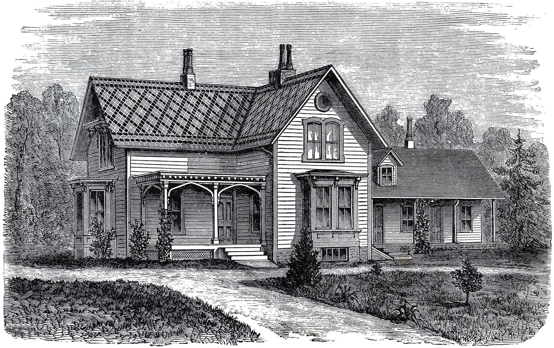 Lovely Vintage Farmhouse Image | Vintage farmhouse, Graphics fairy ... for Farmhouse Clipart Black And White  181obs