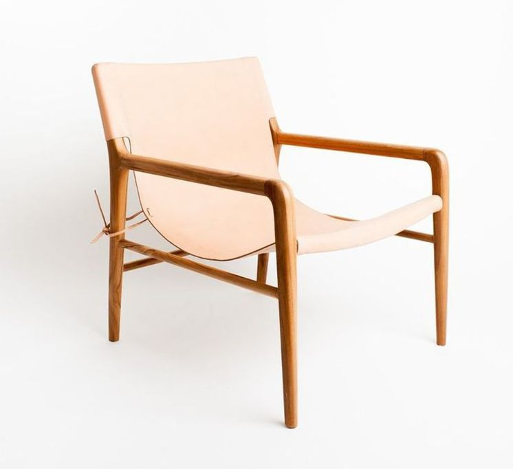 Buff-colored leather sling chair | Smith chair by Barnby Lane | Est Magazine