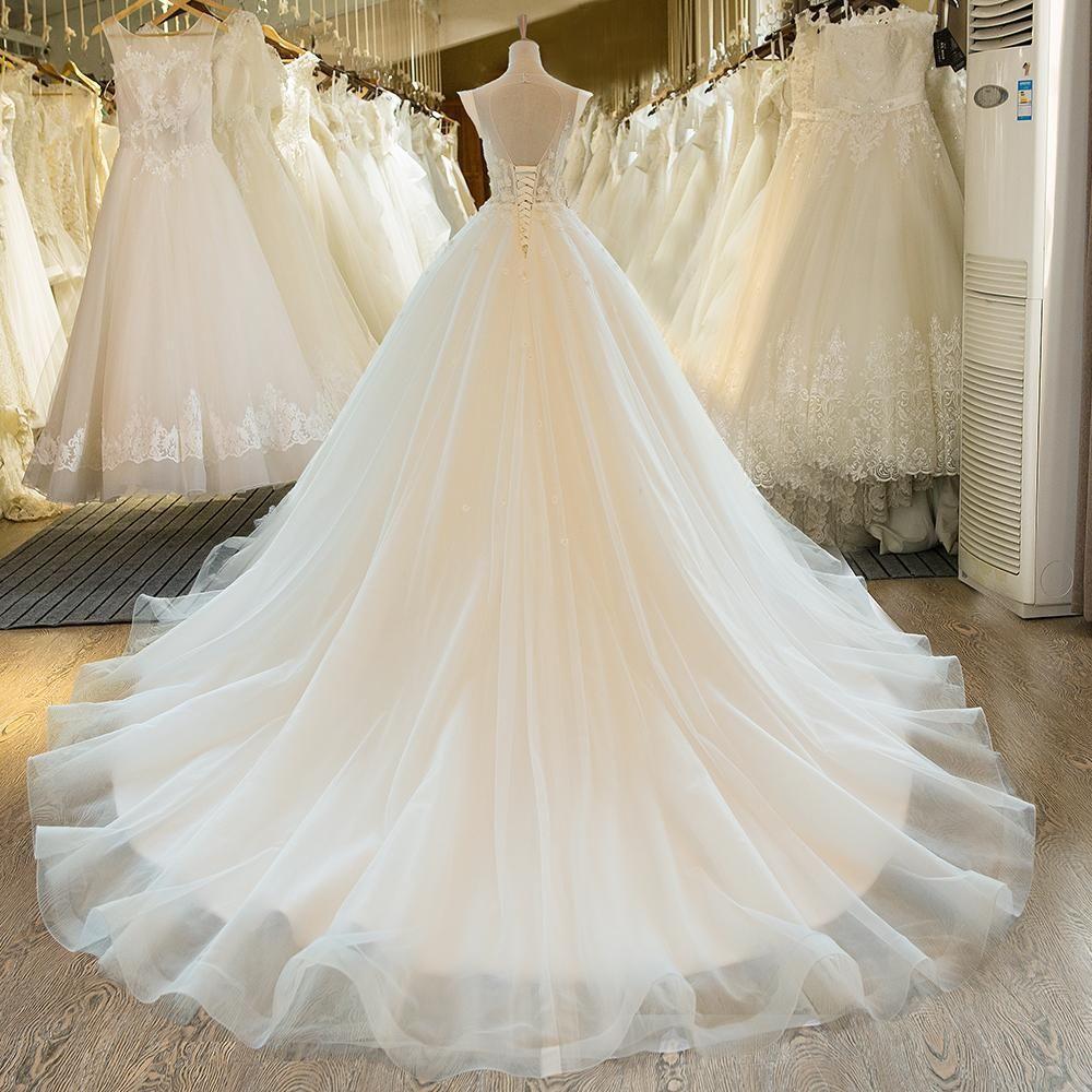 Long Wedding Dress, Lace Wedding Dress, ALine Bridal