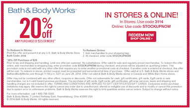 bath and body works coupon 20 free shipping