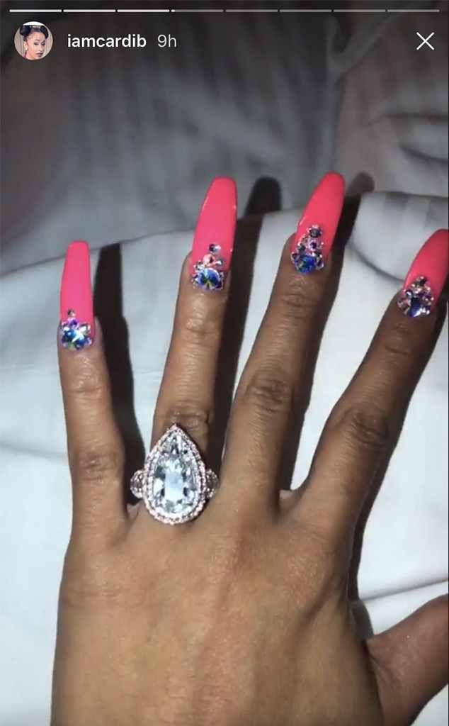 Cardi B S Engagement Ring Custom By Pristine Jewelers 8ct Raindrop