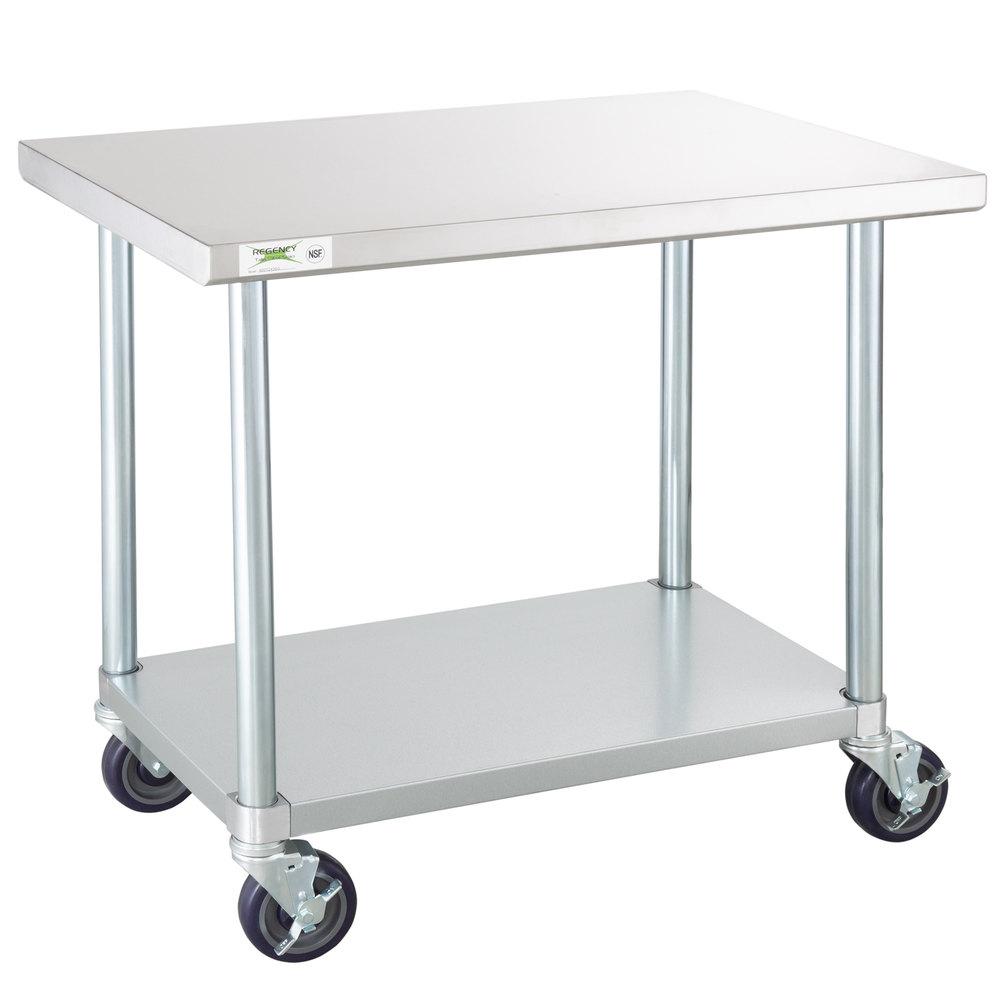Regency 24 X 36 18 Gauge 304 Stainless Steel Commercial Work Table With Galvanized Legs Undershelf And Casters Stainless Steel Work Table Work Table Stainless Steel Table