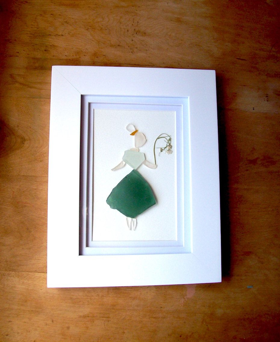 Sea glass maiden// Sea glass art// Girl with dried flowers// Unique sea glass gift by RedIslandSeaGlass on Etsy