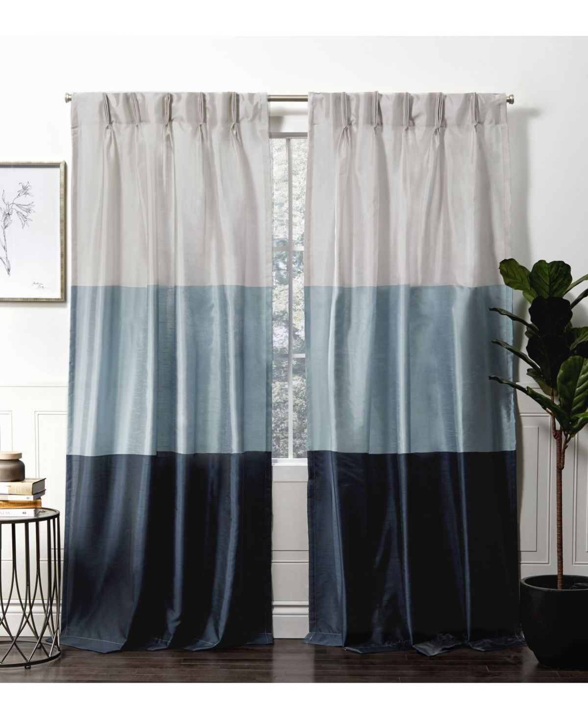 Exclusive Home Curtains Chateau Striped Faux Silk Pinch Pleat Curtain Panel Pair 27 X 84 Reviews Window Treatments Blinds Macy S Home Curtains Panel Curtains Pinch Pleat Curtains