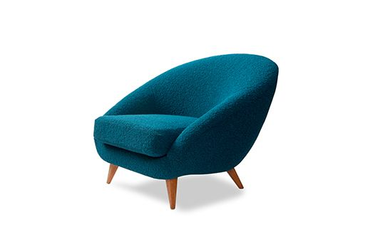 My oh my ... we just love this super comfy 1950's German lounge chair. It has been completely restored and reupholstered in this fabulous turquoise boucle by the Bute Design Studio whose colours were chosen by Tom Dixon. It is absolutely fabulous
