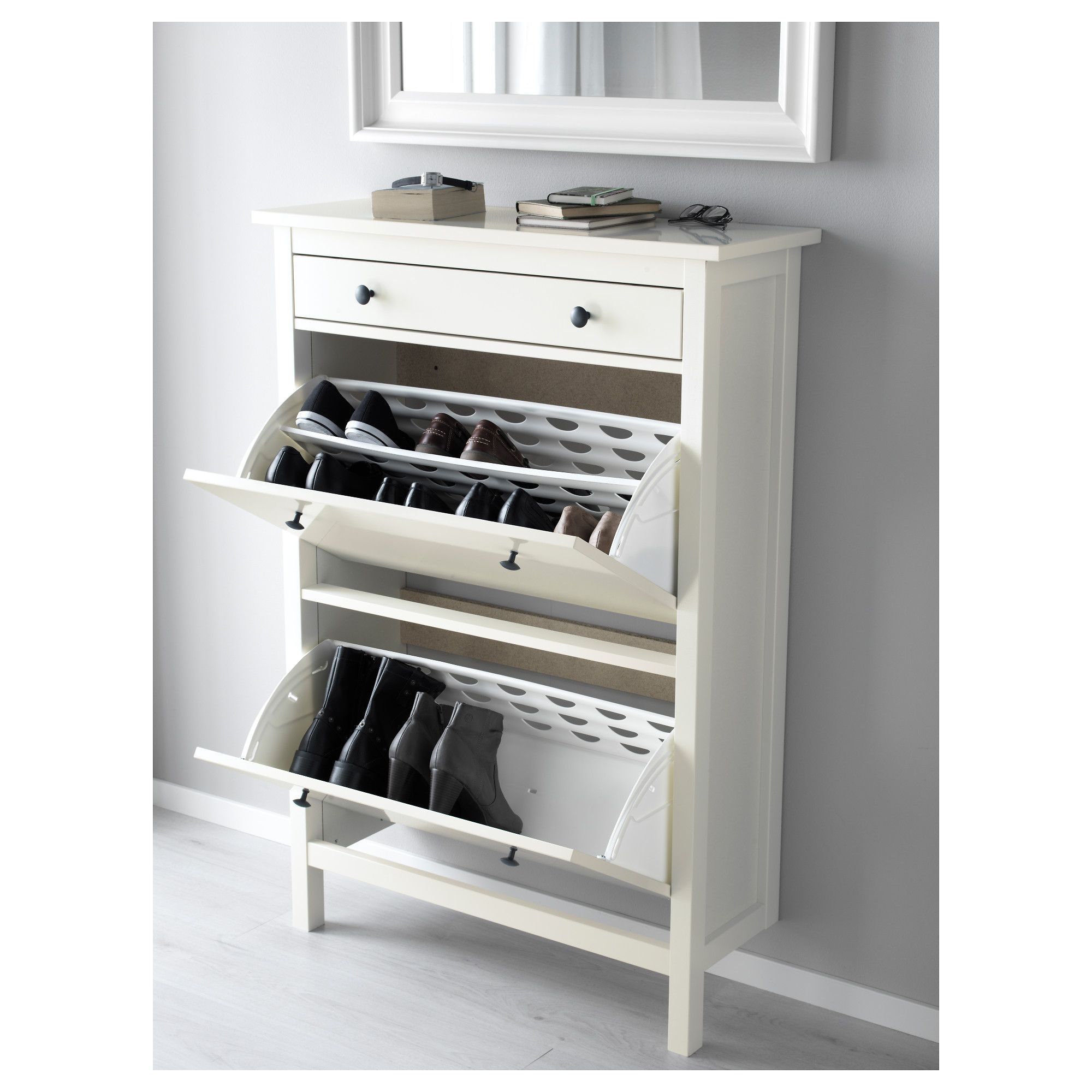 HEMNES Shoe Cabinet With 2 Compartments White In