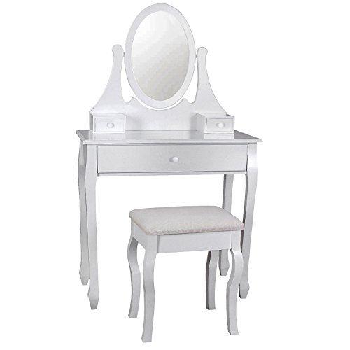Songmics Coiffeuse avec tabouret, tiroir et miroir pivotant blanc - meuble coiffeuse avec miroir pas cher