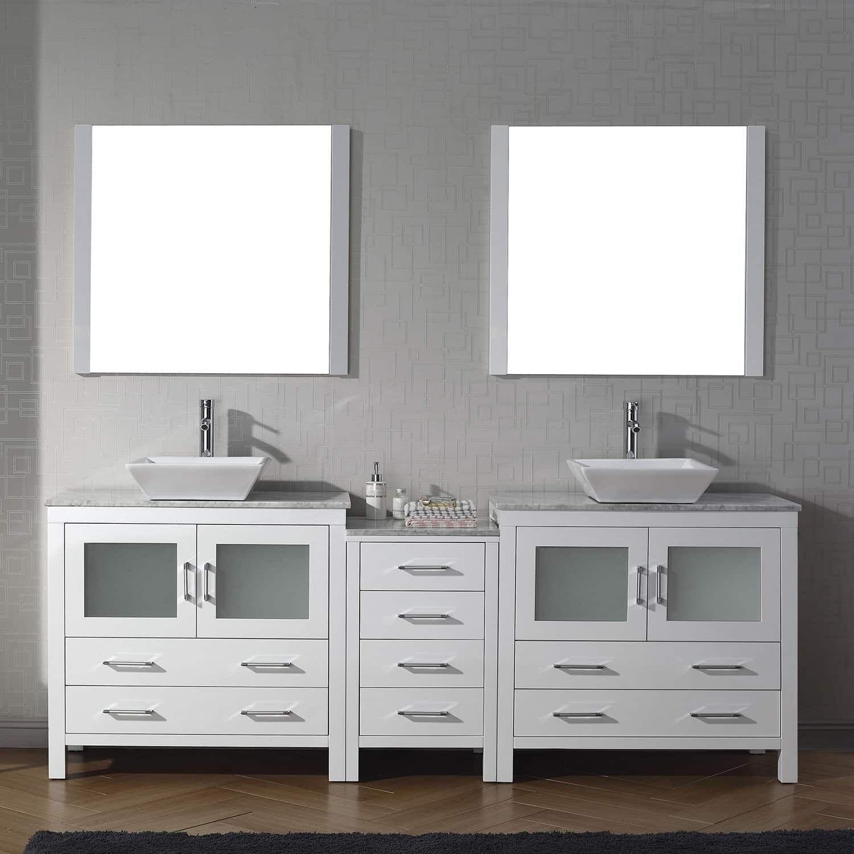 Virtu USA Dior Carrara White Marble 90-inch Double Bathroom Vanity