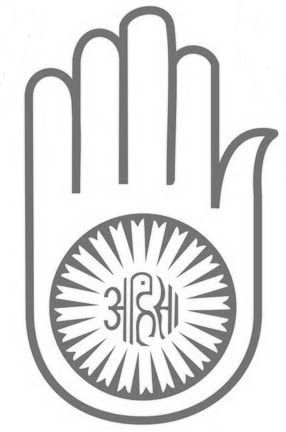 'Ahimsa' in the symbol of Jainism. The circle stands for ...