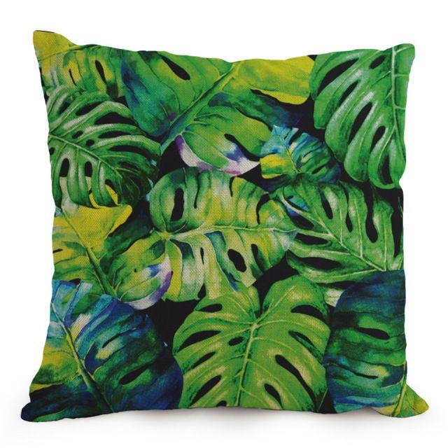 Moderne Kaktus Kissen Fall Tropischen Blatt Kissenbezug Green Leaves Home Decor Baumwolle Leinen Almofada