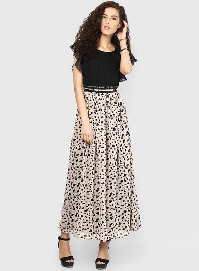 3a17b757c7f Buy MIAMINX Black Colored Printed Maxi Dress for Women Online India ...