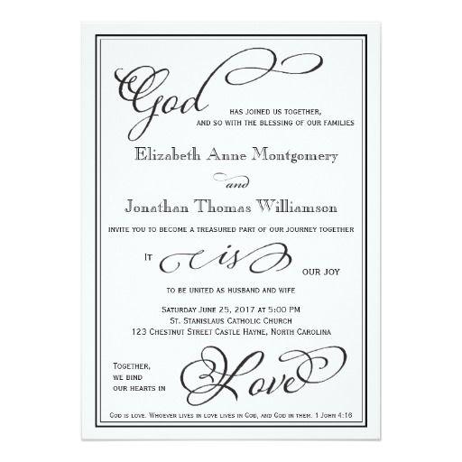 Christian Wording For Wedding Invitations: Simple God Is Love Christian Wedding Invitation