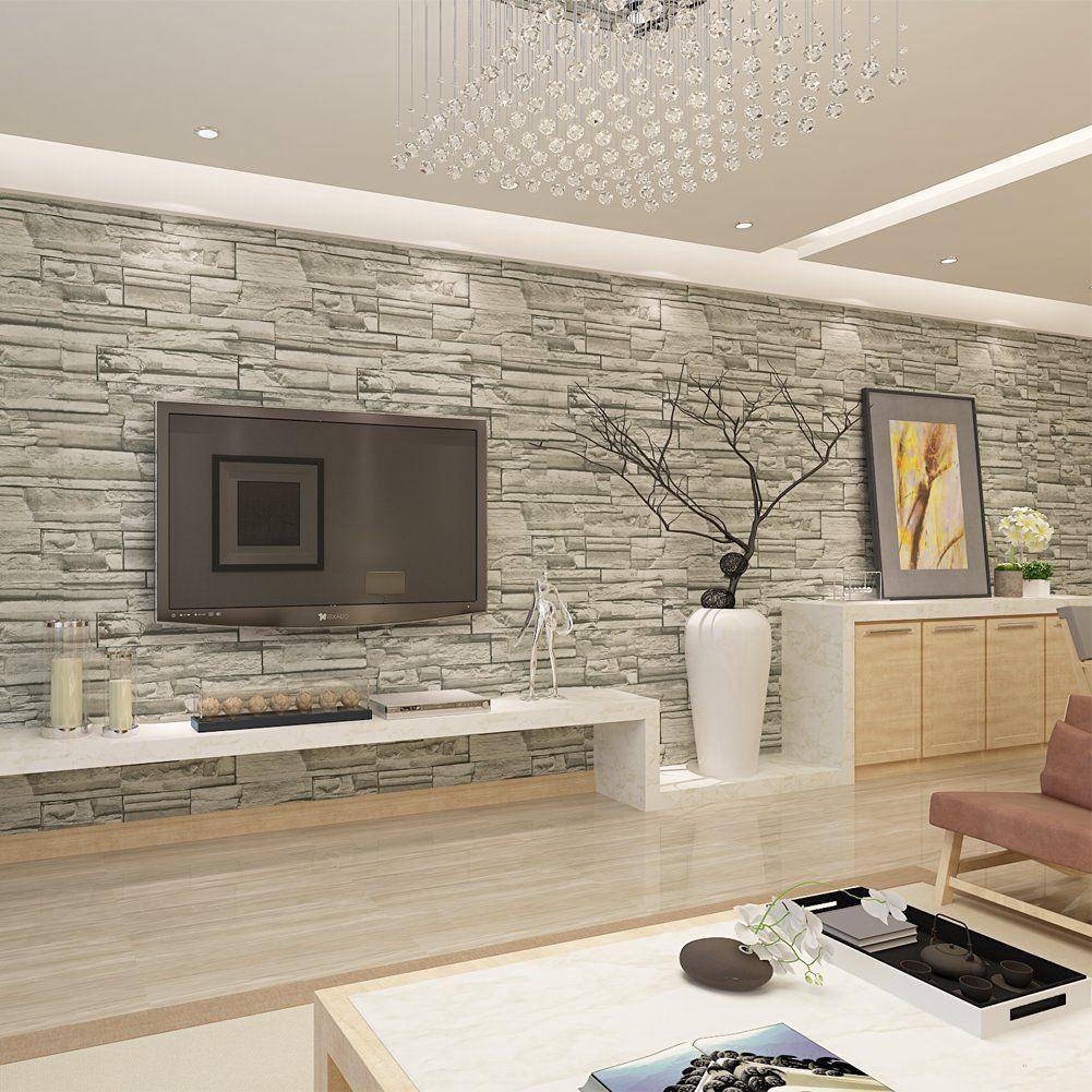 Hanmero papier peint motif de pierre brique imitation - Deco salon chambre ...