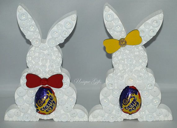 Easter gift egg holder easter bunny button art standing bunny easter gift egg holder easter bunny button art standing bunny mdf bunny creme egg holder easter egg button bunny easter treat rtp easter bunny negle Images