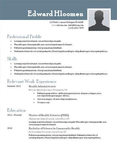 Resume Format Header Microsoft Word Resume Template Resume Templates Resume Template Free