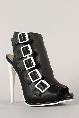 Leatherette Buckle Peep Toe Stiletto High Heel Black Bootie Sandal ugg Cyber Monday View More: www.yi5.org