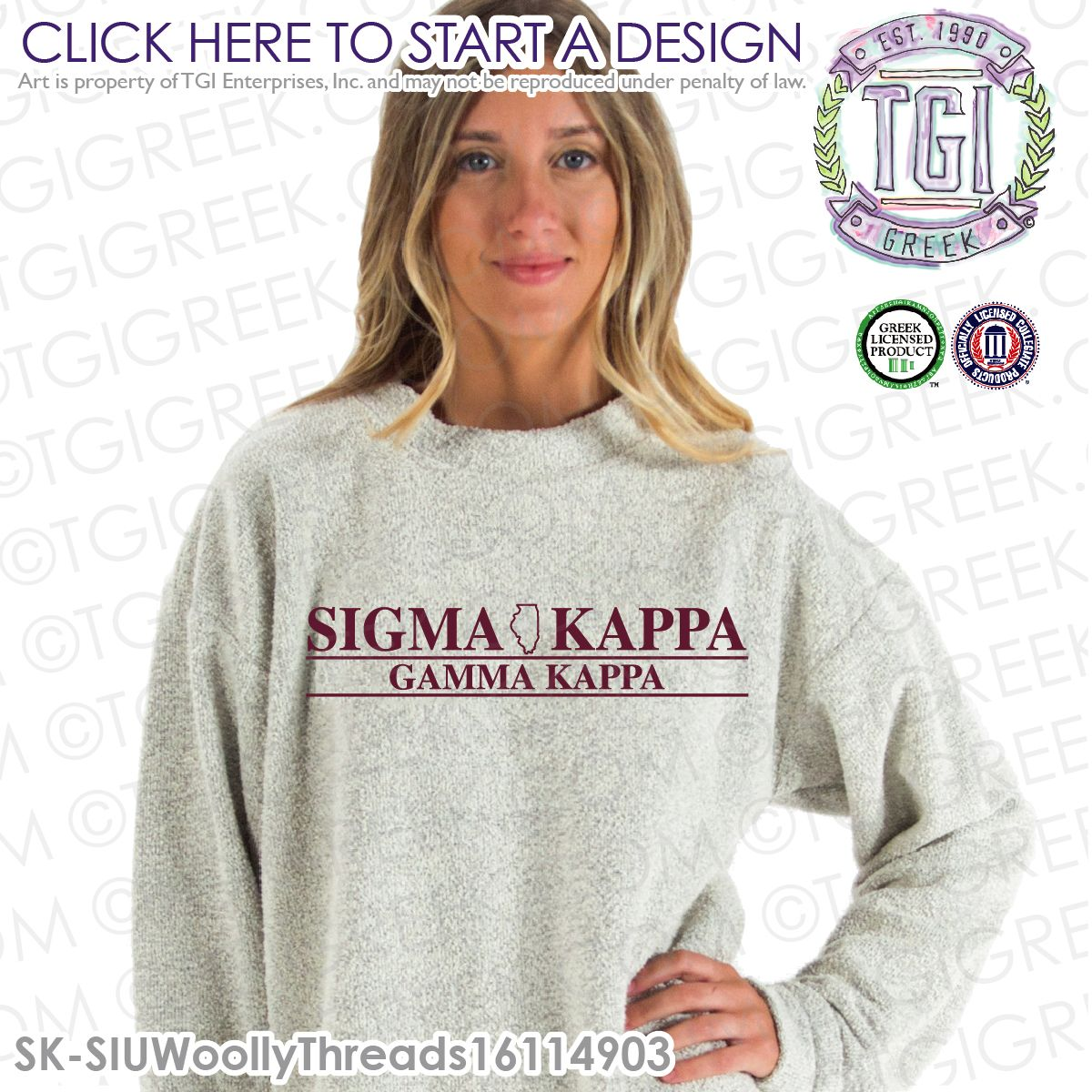 Licensed Sorority Fashion Sigma Kappa Greek Long Sleeve T-Shirts Tee For Women