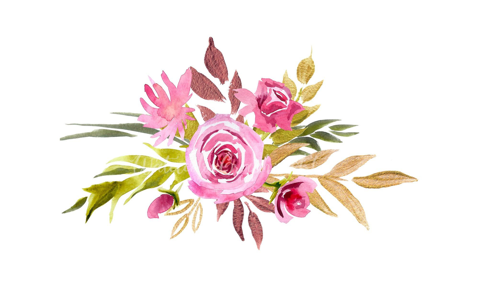 Watercolor Bouquet Of Pink And Gold Flowers Wedding Etsy Watercolor Bouquet Floral Watercolor Wreath Clip Art