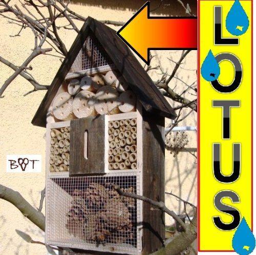 """""""BLACK Insektenhotel groß 50 cm mit Lotus-Effekt Oberflächen Beschichtung und 2 Sichtgläsern 8 und 11 mm Beobachtungsröhrchen komplett mit Zellstoff und Füllmaterial für Nistkasten Schmetterling Haus Bienen Wildbienen Unterschlupf groß 50 cm schwarz kleines Vogelhaus Meisen Nistkasten Insektenhäuschen - biologischer ökologischer natürlicher Pflanzenschutz - ökologische biologische natürliche Blattlausbekämpfung - Insektenhotel zum Hängen und zum Aufstellen"""" jetz"""