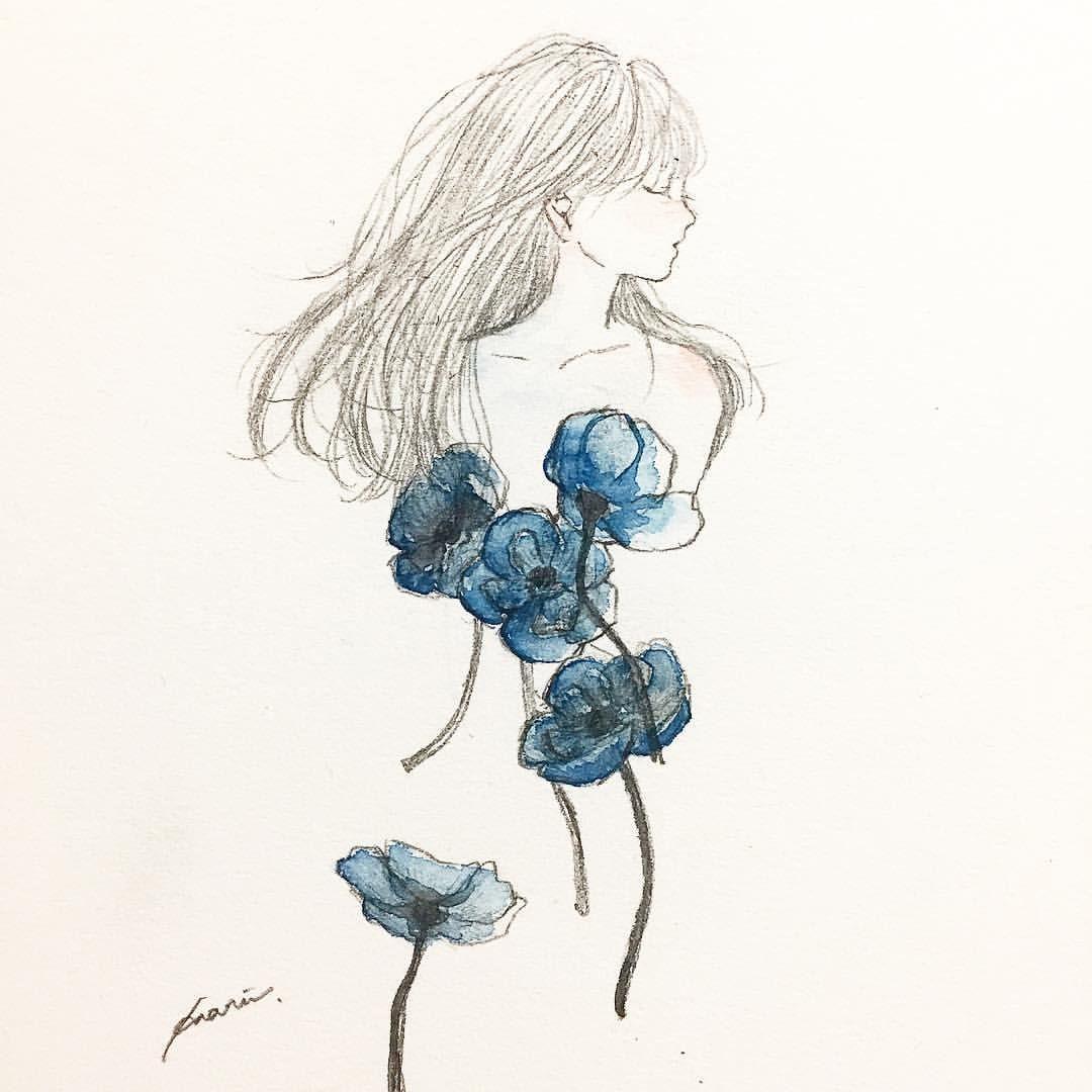 Fragrance Art Artwork Illustration Watercolor Girl Flower