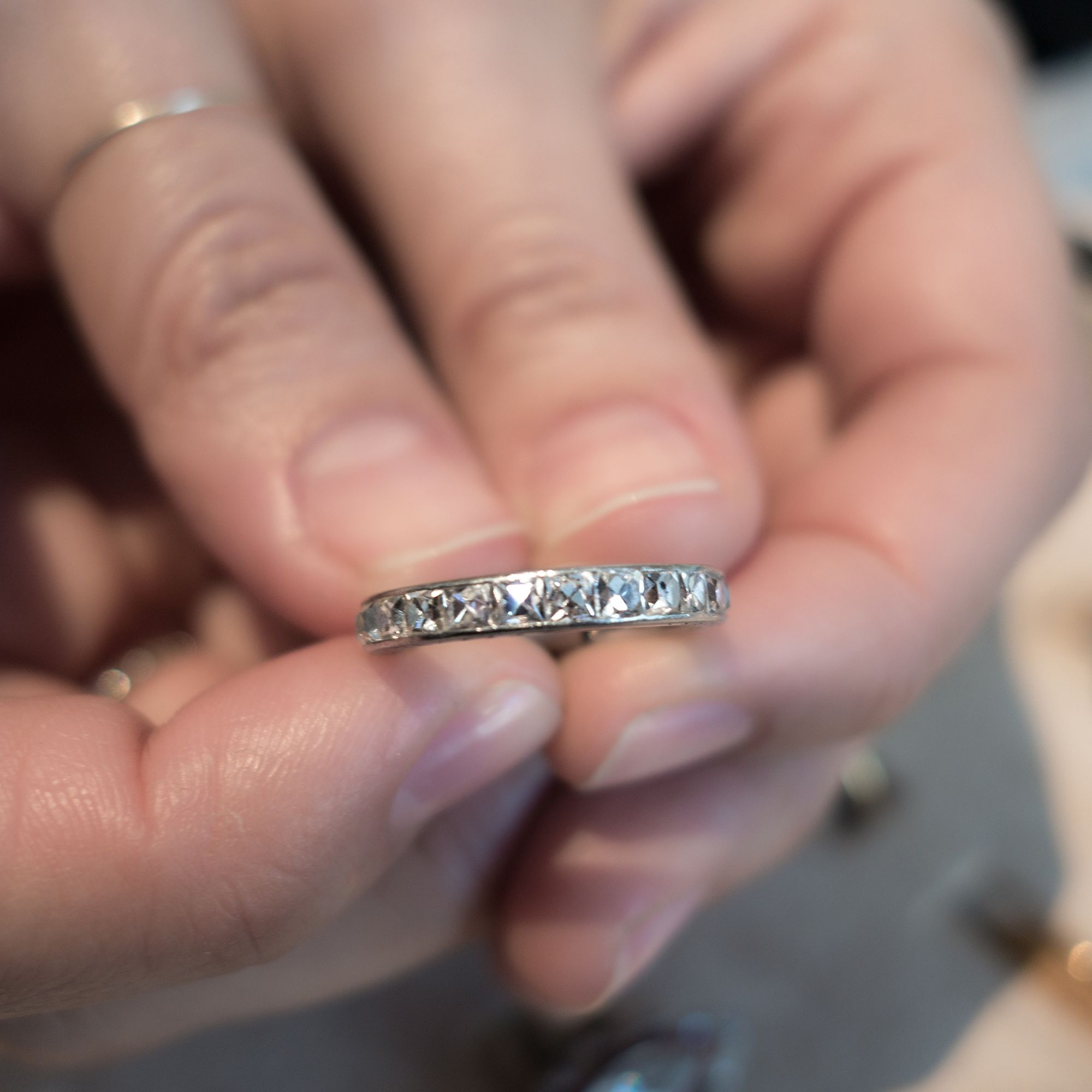 a8dc43361506f Vintage Art Deco eternity wedding band made in platinum and set with ...