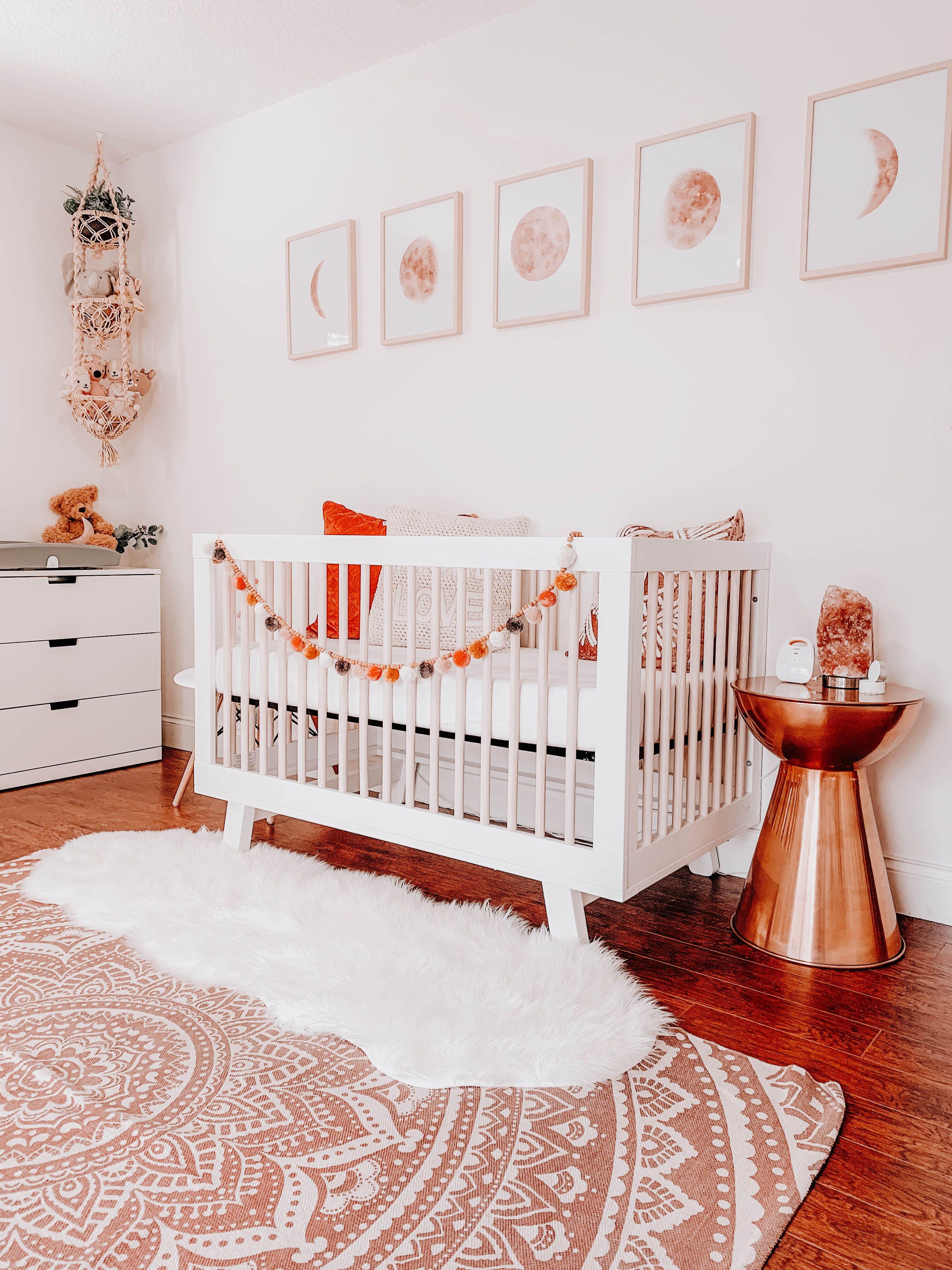 Baby girl nursery simple colorful neutral boho desert