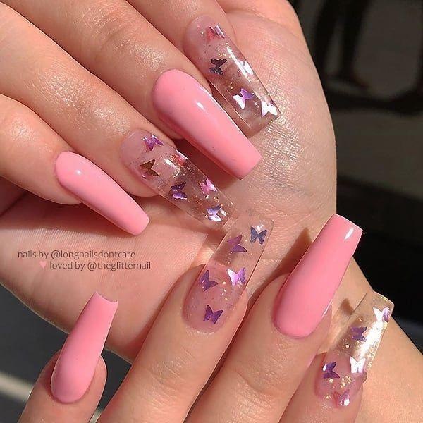 """TheGlitterNail 🎀 ¡Inspírate! en Instagram: """"🦋 Rosa pastel y uñas claras con mariposas y …"""