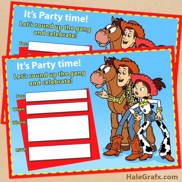 free printable toy story woody and jessie invitation  disney, party invitations